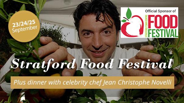 Official Sponsor of Stratford Food Festival. Plus dinner with celebrity chef Jean Christophe Novelli