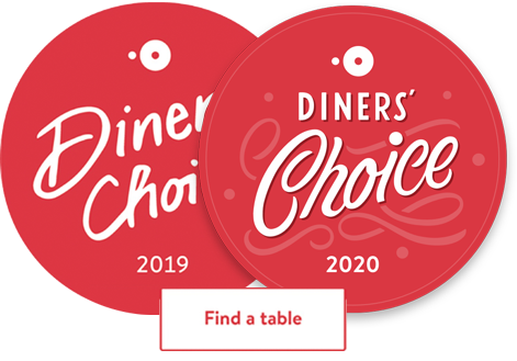 Open Table Diners Choice Winner 2019 and 2020
